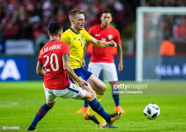 Sweden midfielder Sebastian Larsson in a duel with Charles Aranguiz of Chile during an international friendly between Sweden and Chile at Friends...
