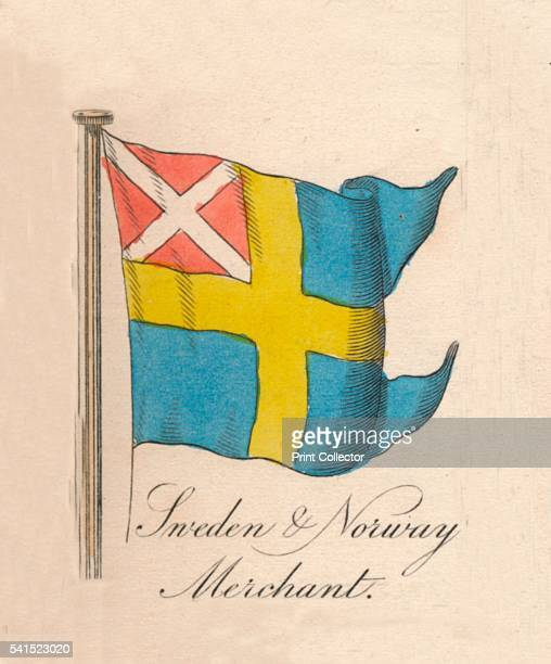 Sweden Norway Merchant' 1838 From A Display of the Naval Flags of All Nations Collected from the Best Authorities [Fisher Son Co London 1838] Artist...