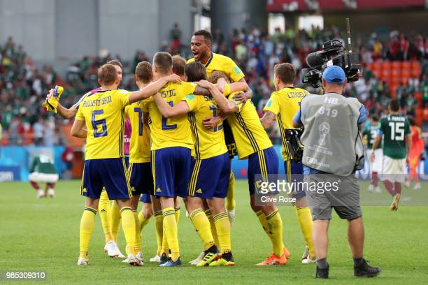 Sweden player celebrate victory following during the 2018 FIFA World Cup Russia group F match between Mexico and Sweden at Ekaterinburg Arena on June...