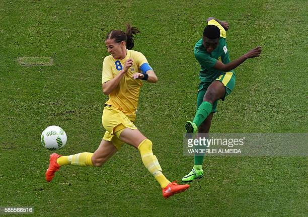 Sweden player Lotta Schelin vies for the ball with South Africa Nothando Vilakazi during the Rio 2016 Olympic Games womens First Round Group E...
