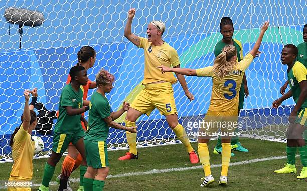Sweden player Nilla Fischer celebrates her goal against South Africa during the Rio 2016 Olympic Games womens First Round Group E football match...