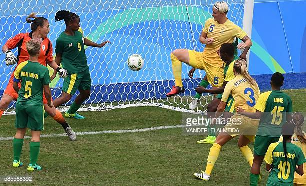 Sweden player Nilla Fischer scores a goal against South Africa during the Rio 2016 Olympic Games womens First Round Group E football match Sweden vs...