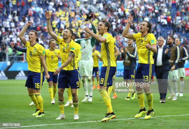 Sweden players acknowledge the fans following the 2018 FIFA World Cup Russia Round of 16 match between Sweden and Switzerland at Saint Petersburg...