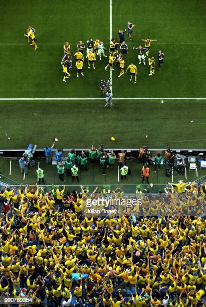 Sweden players acknowledge the fans following the 2018 FIFA World Cup Russia Round of 16 match between Sweden and Switzerlandat Saint Petersburg...