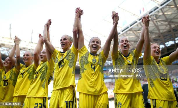 Sweden players celebrate following their sides victory in the 2019 FIFA Women's World Cup France 3rd Place Match match between England and Sweden at...