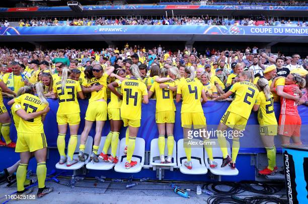 Sweden players celebrate with family and friends after the 2019 FIFA Women's World Cup France 3rd Place Match match between England and Sweden at...