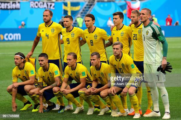 Sweden players line up for the team photos prior to the 2018 FIFA World Cup Russia Round of 16 match between Sweden and Switzerland at Saint...