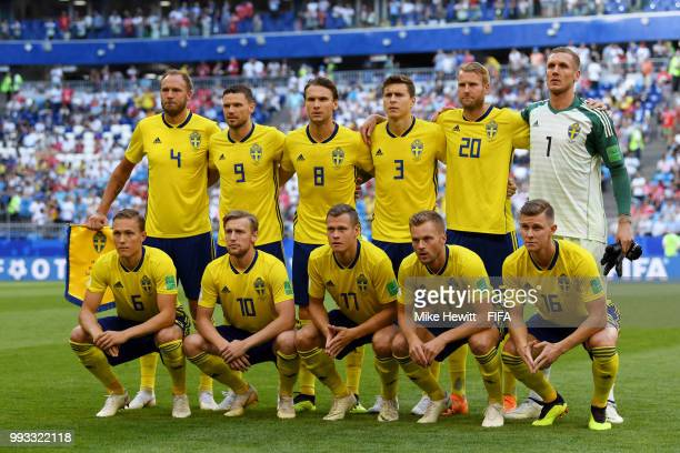 Sweden pose for a team photo during the 2018 FIFA World Cup Russia Quarter Final match between Sweden and England at Samara Arena on July 7 2018 in...