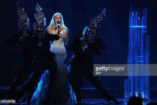 Sweden 's entry into the 2009 Eurovision song contest Malena Ernman perfoms during a dress rehearsal in Moscow on May 15 2009 The grand final of the...