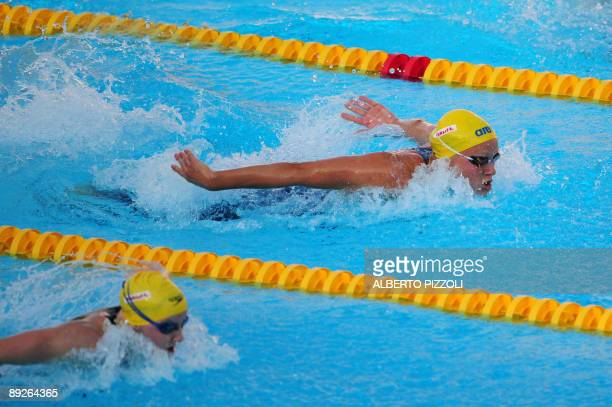 Sweden Sarah Sjostrom performs to beat the world record during the women's 100m butterfly semifinal on July 26 2009 at the 13th FINA World Swimming...