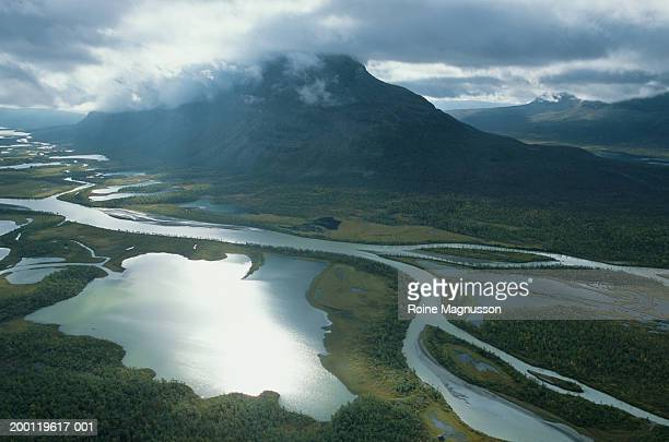 Sweden, Sarek National Park, Rapadalen, Mount Tjakkeli (aerial view)