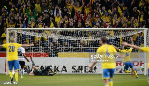 Sweden scores a 20 goal during the World Cup group C qualification match at Friends Arena Solna in Stockholm Sweden 15October 2013 Photo...