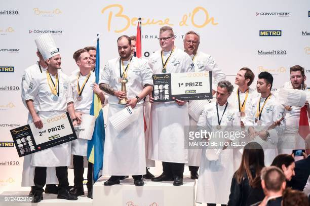Sweden second placed team Norway winner team's chef Christian Andre Pettersen and the Denmark's third placed team pose on the podium of the Europe...