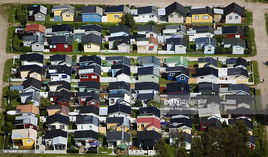 Sweden, Skane, aerial view of colorful houses : Stockfoto