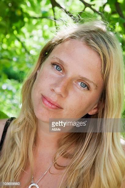 Sweden, Skane, pensive mature woman