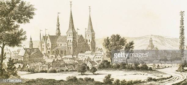 Sweden Skara city Cathedral Vastra Gotaland County Anonymous engraving Universal Panorama 1843