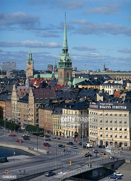 Sweden, Stockholm, Gamla Stan, cathedral rising over cityscape