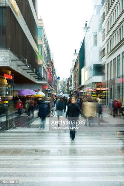 Sweden, Stockholm, pedestrian street, blurred motion