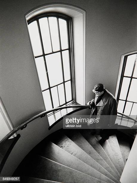 Sweden Stockholm poet Peter Weiss going up the staircase to his studio
