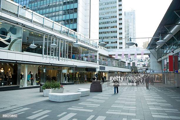 sweden, stockholm, upscale outdoor mall - shopping mall stock pictures, royalty-free photos & images