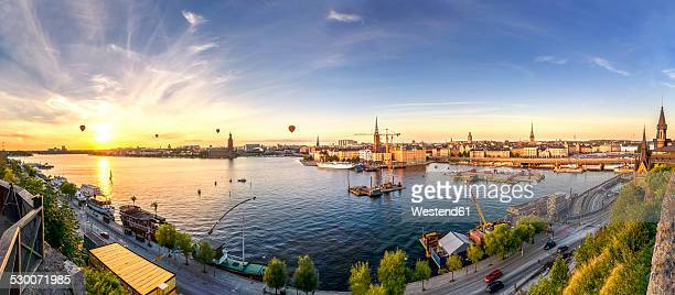 Sweden, Stockholm, View from Monteliusvaegen at sunset