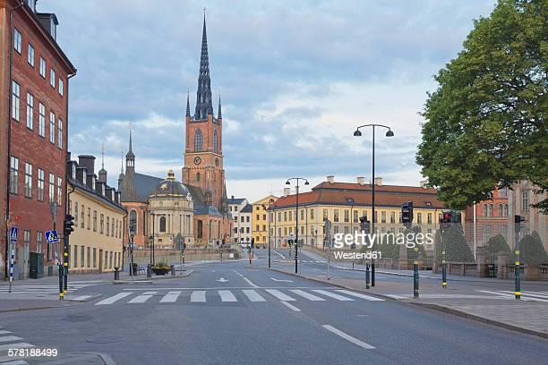 sweden, stockholm, view on the riddarholms church - riddarholmkirche stock-fotos und bilder