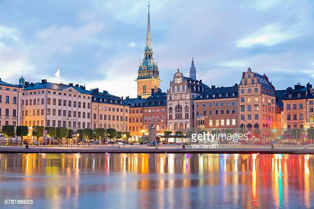 Sweden, Stockholm, View to Gamla Stan with German Church in the evening light
