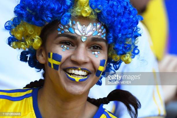 Sweden supporter looks on prior to the France 2019 Women's World Cup Group F football match between Sweden and USA on June 20 at the Oceane Stadium...