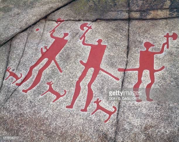 Sweden Tanum Tanumshede Vitlycke Museum Nordic Bronze Age rock carvings 18th6th century bC Warriors with axes