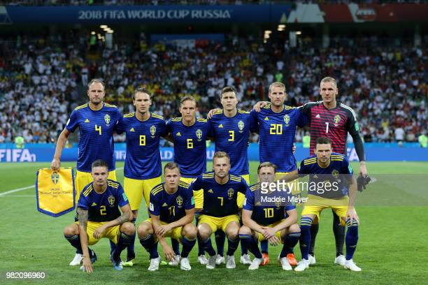Sweden team pose prior to the 2018 FIFA World Cup Russia group F match between Germany and Sweden at Fisht Stadium on June 23 2018 in Sochi Russia
