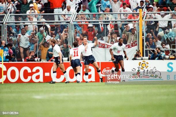 Sweden v England European Championship Match Group Stage Group 1 R undastadion Solna Sweden 17th June 1992 David Platt celebrates after scoring goal...