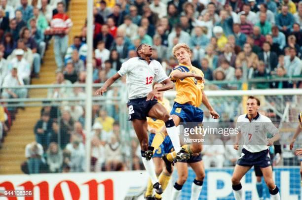 Sweden v England European Championship Match Group Stage Group 1 R undastadion Solna Sweden 17th June 1992 Des walker David Platt Final score Sweden...