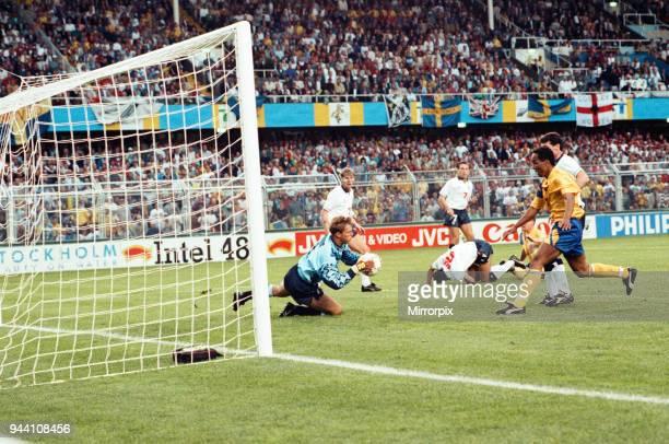 Sweden v England European Championship Match Group Stage Group 1 R undastadion Solna Sweden 17th June 1992 Chris Woods goalkeeper makes a save Final...