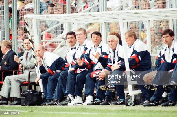 Sweden v England European Championship Match Group Stage Group 1 R undastadion Solna Sweden 17th June 1992 England Bench Manager Graham Taylor...