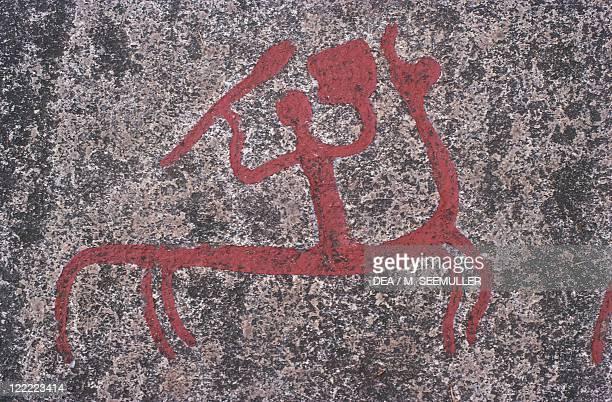 Sweden Vastra Gotaland County Aspeberget Rock carvings in Tanum or Tanumshede Scandinavian Bronze Age