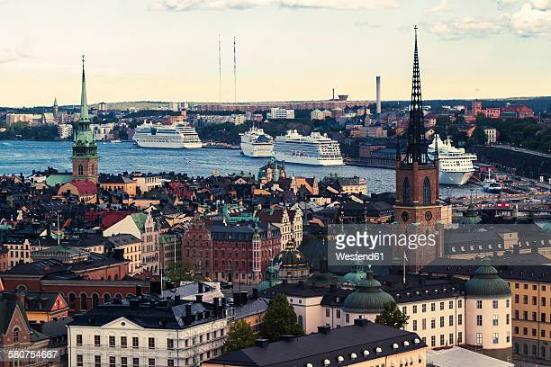 Sweden, View across the Gamla Stan island towards the cruise ship harbor of Stockholm