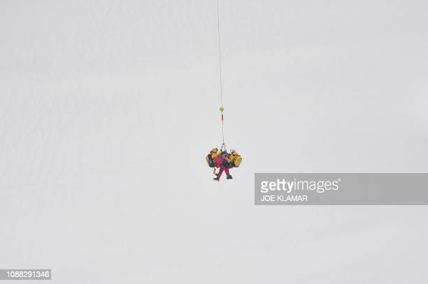 TOPSHOT Sweden's Alexander Koell is being transported to hospital during the men's downhill event of the FIS Alpine Ski World Cup in Kitzbuehel...