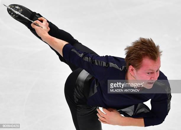 Sweden's Alexander Majorov performs his routine in the men's short program at the ISU European Figure Skating Championships in Moscow on January 17...