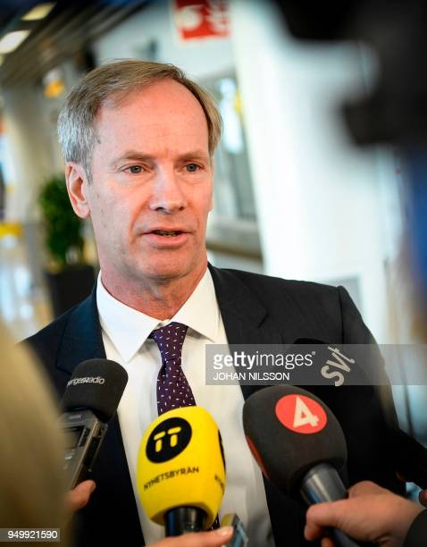 Sweden's ambassador to the United Nations Olof Skoog speaks to journalists during a press conference at Sturup airport Malmo Sweden on April 22 after...