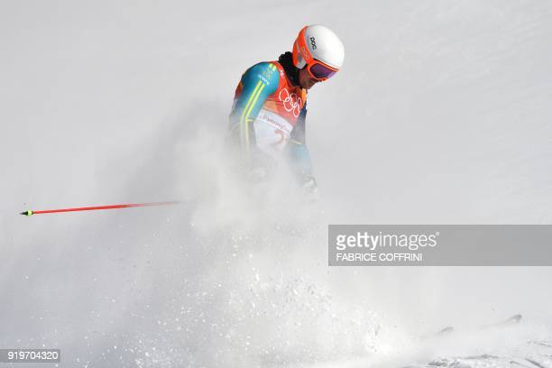 Sweden's Andre Myhrer competes in the Men's Giant Slalom at the Jeongseon Alpine Center during the Pyeongchang 2018 Winter Olympic Games in...