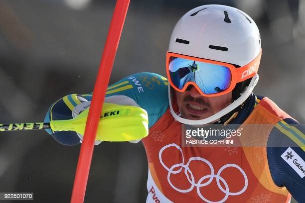 TOPSHOT Sweden's Andre Myhrer competes in the Men's Slalom at the Yongpyong Alpine Centre during the Pyeongchang 2018 Winter Olympic Games in...