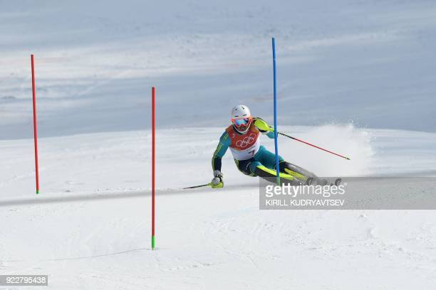 TOPSHOT Sweden's Andre Myhrer competes to win gold in the Men's Slalom at the Yongpyong Alpine Centre during the Pyeongchang 2018 Winter Olympic...