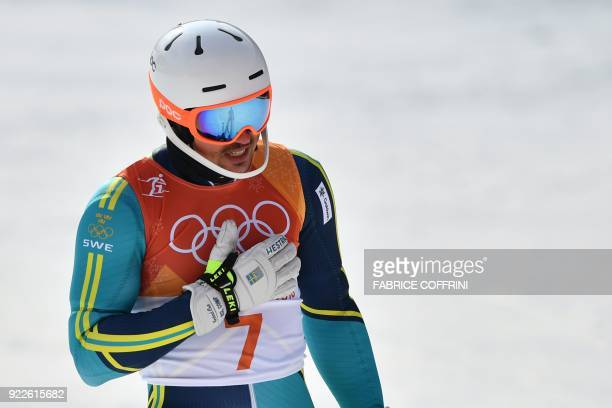 TOPSHOT Sweden's Andre Myhrer reacts as he wins gold after competing in the Men's Slalom at the Yongpyong Alpine Centre during the Pyeongchang 2018...