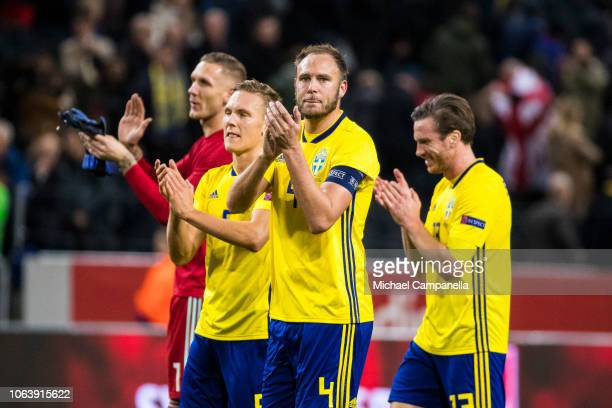 Sweden's Andreas Granqvist and teammates thank the supporters during the UEFA Nations League B group two match between Sweden and Russia at Friends...