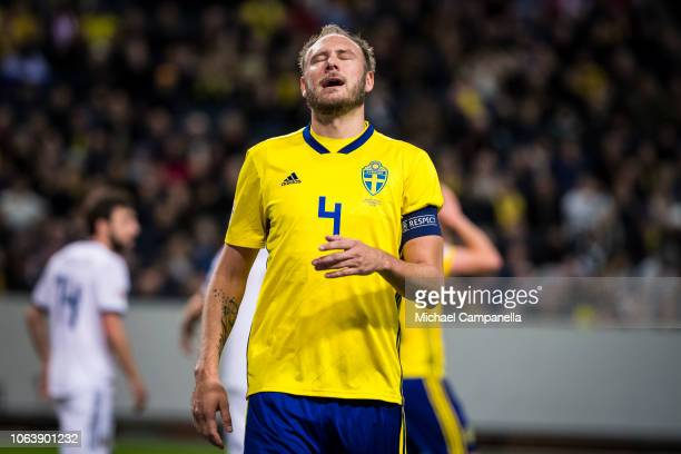 Sweden's Andreas Granqvist dejected after a missed chance on goal during the UEFA Nations League B group two match between Sweden and Russia at...