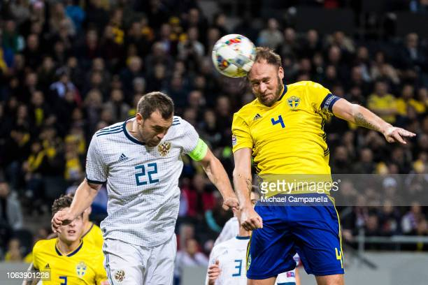 Sweden's Andreas Granqvist heads the ball toward goal during the UEFA Nations League B group two match between Sweden and Russia at Friends Arena on...
