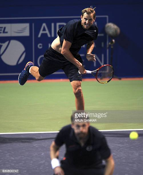 Sweden's Andreas Siljestrom serves the ball during the first round of the doubles match of the Chennai Open Tennis Championship in Chennai on January...