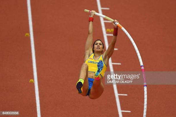 Sweden's Angelica Bengtsson competes in the women's pole vault final at the 2017 European Athletics Indoor Championships in Belgrade on March 4 2017...