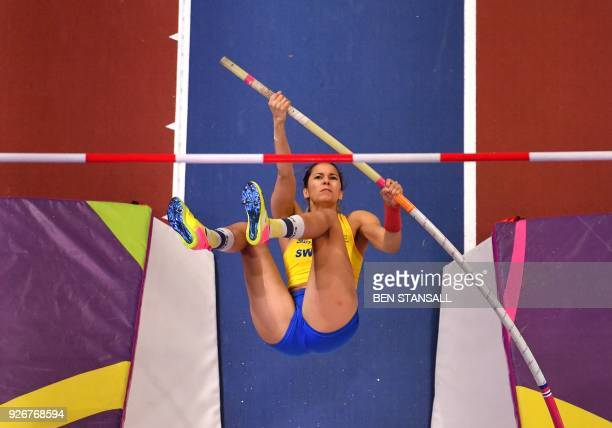 Sweden's Angelica Bengtsson competes in the women's pole vault final at the 2018 IAAF World Indoor Athletics Championships at the Arena in Birmingham...