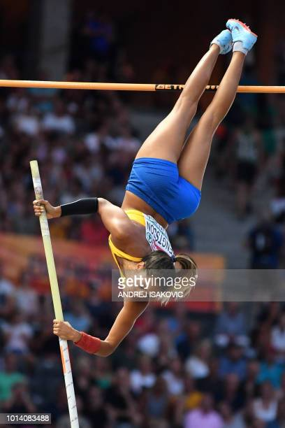 Sweden's Angelica Bengtsson competes in the women's Pole Vault final during the European Athletics Championships at the Olympic stadium in Berlin on...